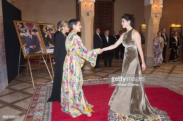 Morocco's Princess Lalla Meryem welcomes Gemma Aterton during the 15th Marrakech International Film Festival on December 5 2015 in Marrakech Morocco