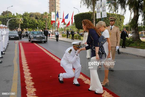 Morocco's Princess Lalla Salma and French president's wife Brigitte Macron arrive at the National Museum of Contemporary Arts of Rabat to visit the...