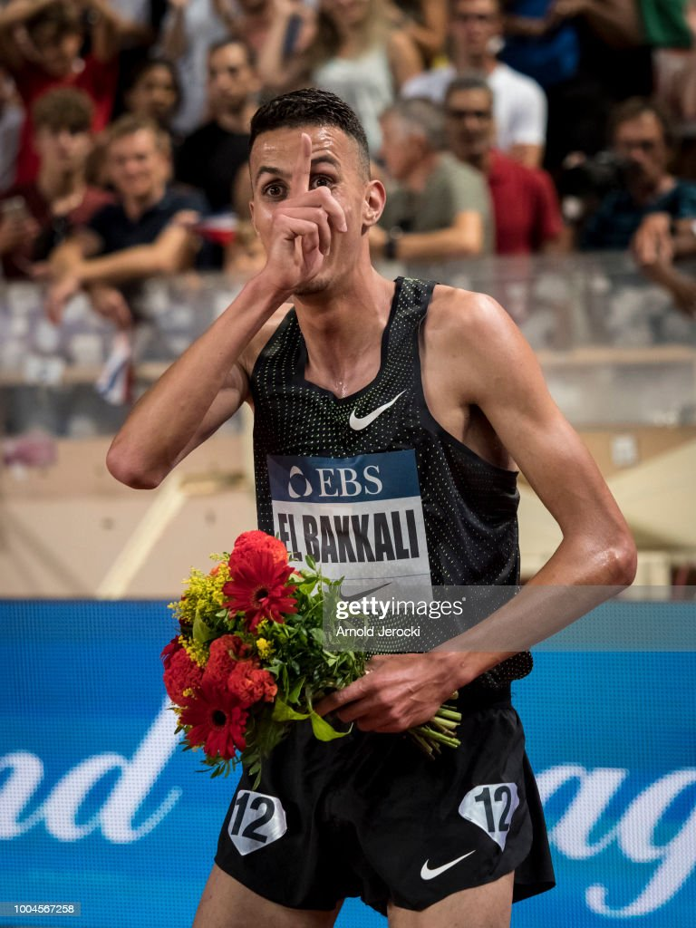 Morocco's Soufiane El Bakkali celebrates after victory in the men's 3000 metres steeplechase at the IAAF Diamond League athletics 'Herculis' meeting at The Stade Louis II on July 20, 2018 in Monaco, Monaco.