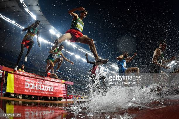 TOPSHOT Morocco's Soufiane El Bakkali competes in the Men's 3000m steeple chase race heats at the 2019 IAAF Athletics World Championships at the...