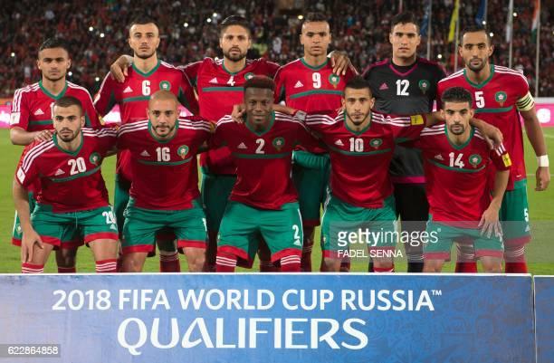 Morocco's starting eleven midfielder Sofiane Boufal midfielder Romain Saiss defender Manuel Da Costa forward Youssef En Nesyri goalkeeper Munir...