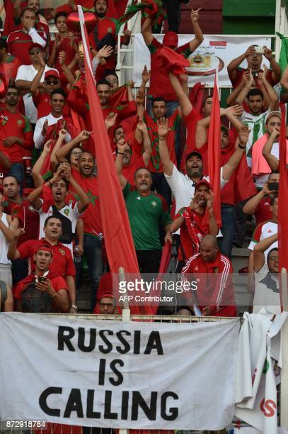 Morocco's team supporters attend at the Felix HouphouetBoigny stadium in Abidjan on November 11 during the FIFA World Cup 2018 Africa Group C...