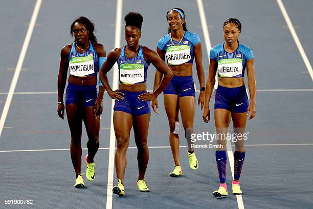 Morolake Akinosun Tianna Bartoletta English Gardner and Allyson Felix of the United States react after the round one Women's 4 x 100m Relay ReRun on...