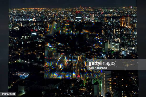 Morpho Scenery by Yoichi Ochiai is displayed at the Media Ambition Tokyo at Roppongi Hills on February 8 2018 in Tokyo Japan The analog optical...