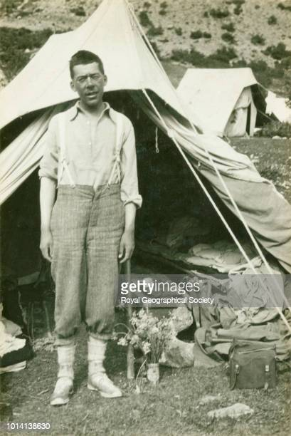Morris at Teng in front of tent shared with George Mallory Tibet 20 March 1922 Mount Everest Expedition 1922