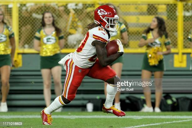 Morris Claiborne of the Kansas City Chiefs runs with the ball in the second quarter against the Green Bay Packers during a preseason game at Lambeau...