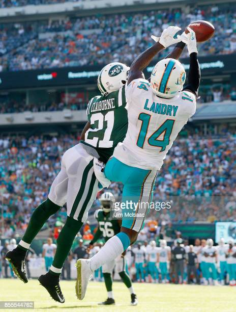 Morris Claiborne of the New York Jets breaks up a pass in the end zone intended for Jarvis Landry of the Miami Dolphins on September 24 2017 at...