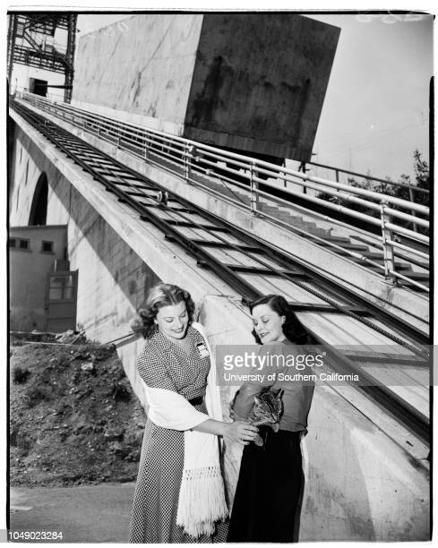 Morris Dam San Gabriel Canyon United States Navy Ordinance Test Station Variable angle launcher Pontoon Bridge Tower etc 24 March 1952 Rosemarie...