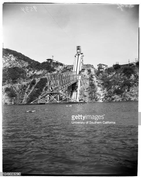 Morris Dam San Gabriel Canyon United States Navy Ordinance Test Station Variable angle launcher Pontoon Bridge Tower etc 24 March 1952 Rosemarie...