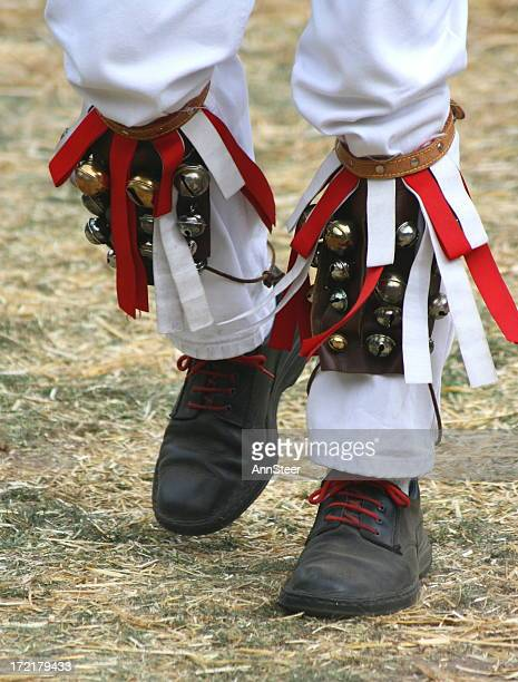 morris dancer feet detail - morris dancing stock photos and pictures