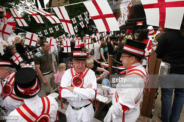 Morris Dancers are seen during the Capital Radio St Georges Day Recording at Ye Old St Georges Pub in Beckenham on April 23 2007 in London England