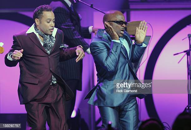 Morris Day and Jerome Benton of The Original 7 performs during the 2011 Soul Train Awards at The Fox Theatre on November 17 2011 in Atlanta Georgia