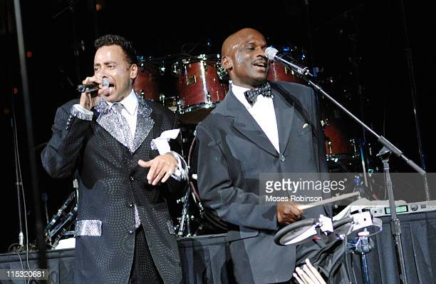 Morris Day and Jerome during Morris Day and the Time Post Game Concert at the Atlanta Hawks vs Cleveland Cavaliers Game December 1 2006 at Philips...