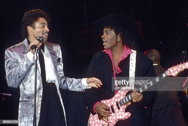 Morris Day and Jesse Johnson of the band The Time perform at First Avenue nightclub in Minneapolis Minnesota in December 1985