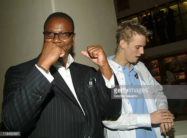 Morris L Reid and Aaron Carter during Asprey Shopping Event to Benefit VH1 Save the Music Foundation June 30 2005 at Asprey in New York City New York...
