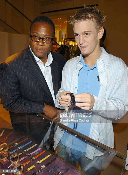 Morris L Reid and Aaron Carter during Jaci Wilson Reid and Morris Reid Host a Shopping Experience at Asprey to Benefit VH1 Save The Music Fund at...