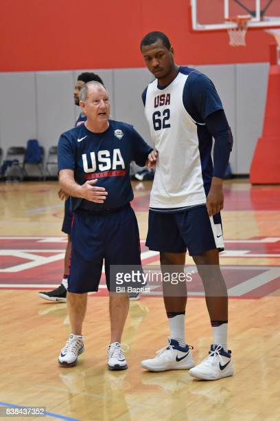 Morris McHone coaches Jonathan Holmes of the USA AmeriCup Team during a training camp at the University of Houston in Houston Texas on August 23 2017...