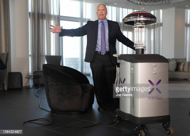 Morris Miller CEO for Xenex Disinfection Services company speaks about the companies LightStrike GermZapping Robot at the Paramount Miami Worldcenter...