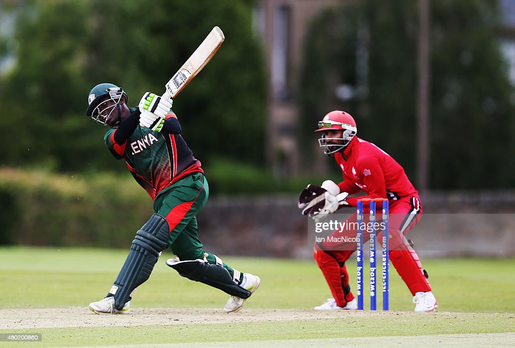 Morris Ouma of Kenya in action during the ICC World Twenty20 India Qualifier between Canada and Kenya at Myreside Cricket Club, on July 10, 2015 in Edinburgh Scotland.
