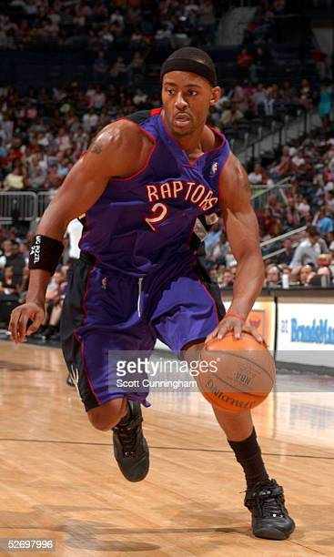 Morris Peterson of the Toronto Raptors drives to the basket against the Atlanta Hawks during the game at Philips Arena on March 26 2005 in Atlanta...
