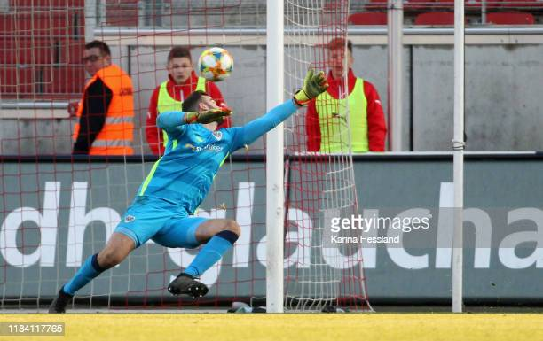 Morris Schroeter of Zwickau scores the fourth goal Goalkeeper Oliver Schnitzler of Muenster without a chance during the 3 Liga match between FSV...