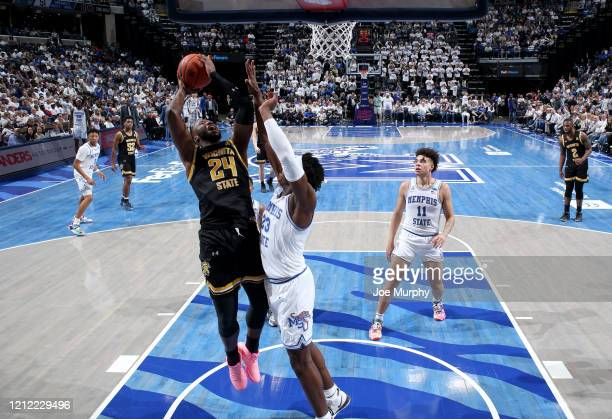 Morris Udeze of the Wichita State Shockers shoots against the Memphis Tigers during a game on March 5 2020 at FedExForum in Memphis Tennessee Memphis...