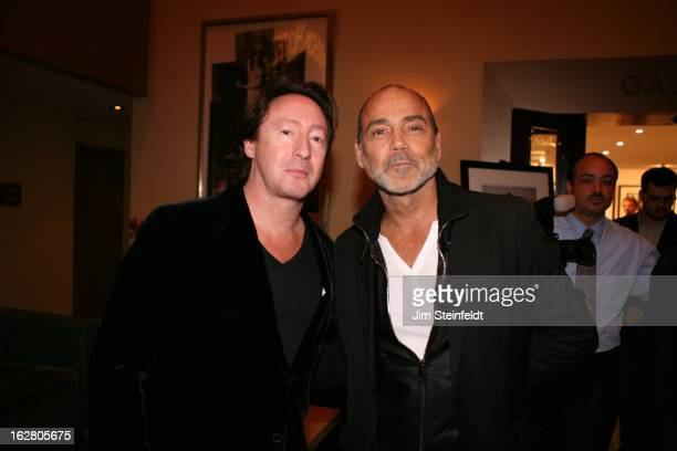 Morrison Hotel Gallery opening at the Sunset Marquis Hotel Julian Lennon and Timothy White pose for a portrait in Los Angeles California on February...