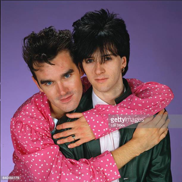 Morrissey hugs his friend and musical collaborator Johnny Marr