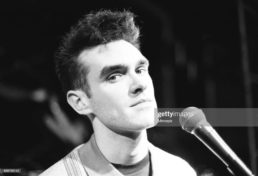 Morrissey, lead singer of Manchester group The Smiths, performing in concert : News Photo