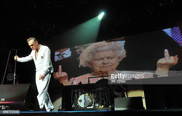 Morrissey performs live on stage at 02 Arena on November 29 2014 in London England