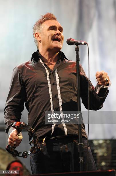 Morrissey performs on the Pyramid stage during the second day of Glastonbury Festival 2011 at Worthy Farm on June 24, 2011 in Glastonbury, United...