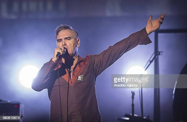 Morrissey, vocalist of the band The Smiths, performs on stage at Volkswagen Arena on December 17, 2014 in Istanbul, Turkey.