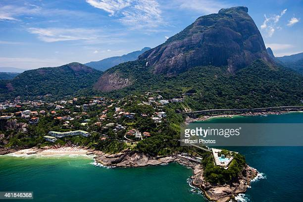Morro da Joatinga and Joa borough an upscale neighborhood of upper class mansions in the West Zone of the city Costa Brava club in foreground Pedra...