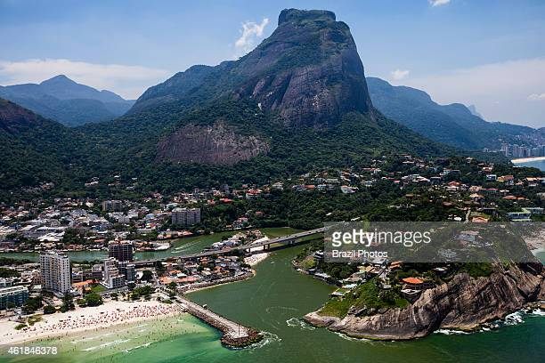 Morro da Joatinga and Joa borough at right an upscale neighborhood of upper class mansions in the West Zone of the city Barra da Tijuca beach at left...