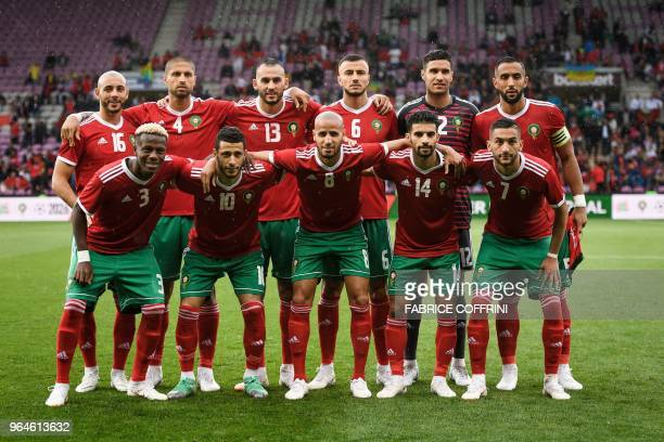 Morroco's national football team second row forward Noureddine Amrabat defender Manuel Da Costa forward Khalid Boutaib defender Romain Saiss...