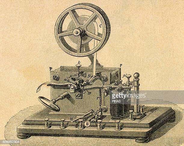 Morse System Morse telegraph reciever Engraving 19th century