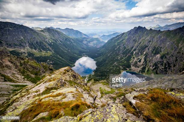 morskie oko and black ponds in valley of the fish stream, tatra mountains, poland - zakopane stock pictures, royalty-free photos & images