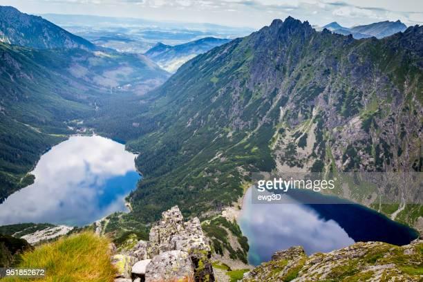 Morskie oko lake and black pond in Tatra Mountains, Poland