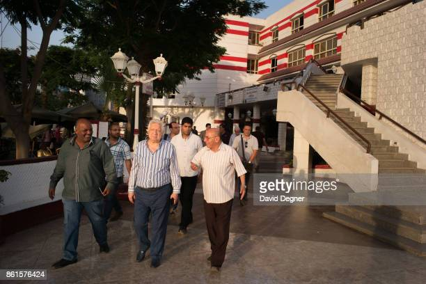 Mortada Mansour walks through the Zamalek Club inspecting the work of its employees on May 16, 2017 in Cairo, Egypt. The Zamalek club is probably...