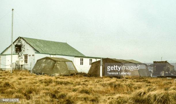 Mortar damage to airfield building in Port Stanley during the Falklands War June 1982