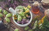 Mortar of medicinal herbs, healthy plants, bottle of tincture or infusion. Top view. Herbal medicine.