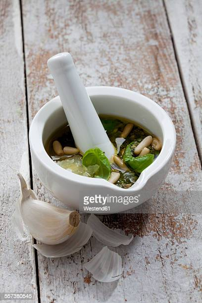 Mortar with ingredients of pesto