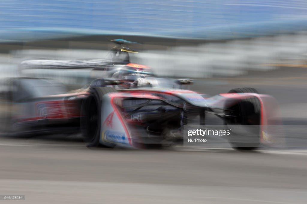 E. Mortara of Venturi Racing during Rome E-Prix Round 7 as part of the ABB FIA Formula E Championship on April 14, 2018 in Rome, Italy.