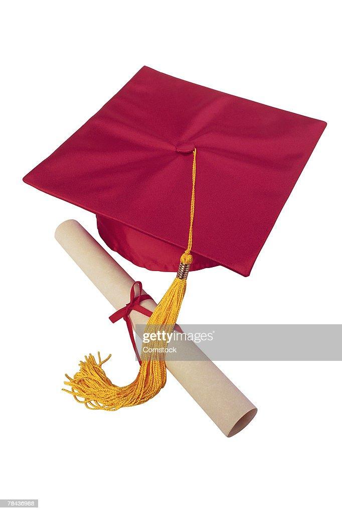 Mortarboard and diploma : Stockfoto