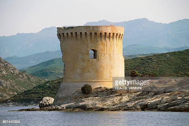 Mortella watchtower along the coast of the Desert of Agriates Corsica France