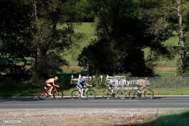 Morten Alexander Hulgaard of Denmark and UNO - X Pro Cycling Team, Otto Vergaerde of Belgium and Team Alpecin-Fenix, Kenny Molly of Belgium and Team...