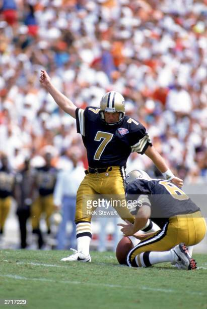Morten Andersen of the New Orleans Saints kicks during a game against the Tampa Bay Buccaneers at Tampa Stadium on September 18 1994 in Tampa Bay...