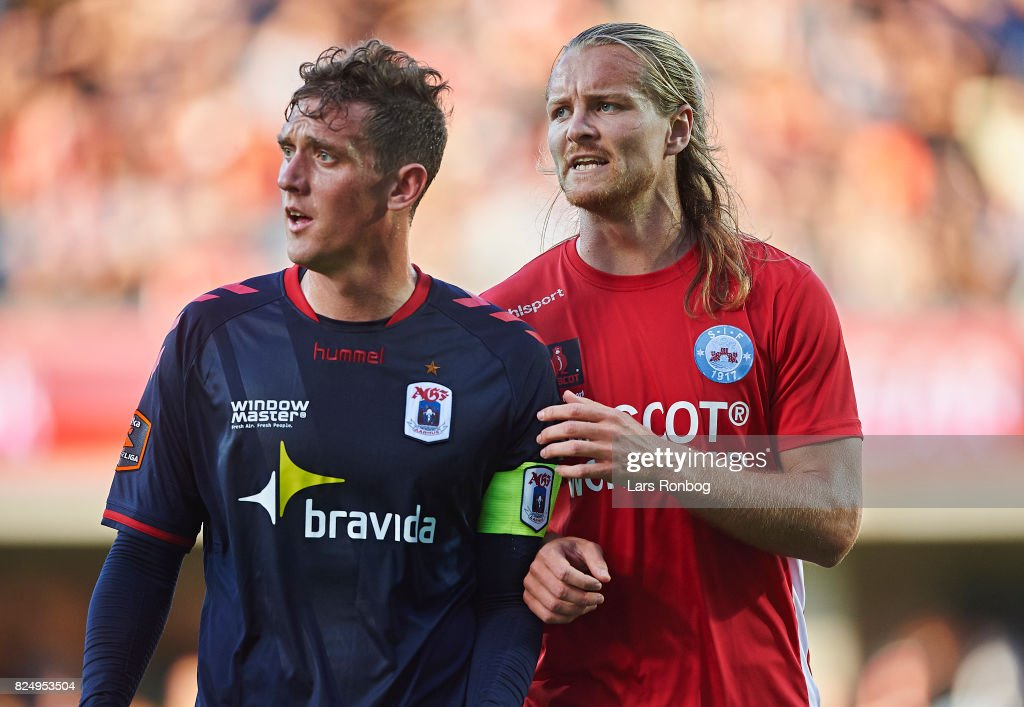 Morten Duncan Rasmussen of AGF Aarhus and Simon Jakobsen of Silkeborg IF in action during the Danish Alka Superliga match between Silkeborg IF and AGF Aarhus at Jysk Park on July 31, 2017 in Silkeborg, Denmark.