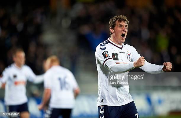 Morten Duncan Rasmussen of AGF Aarhus celebrates after scoring their first goal during the Danish Cup DBU Pokalen semifinal match between AGF Aarhus...