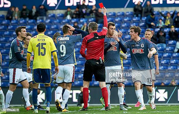 Morten Duncan Rasmussen of AGF Aarhus walks off the pitch after receiving a red card from referee Peter Rasmussen during the Danish Cup DBU Pokalen...